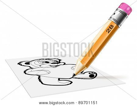 Illustration of a pencil and drawing on paper bear on a white background.