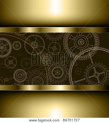 Background with technology gears golden, vector illustration.
