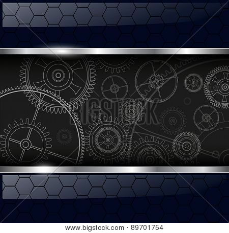 Abstract background with technology machine gears, vector illustration.