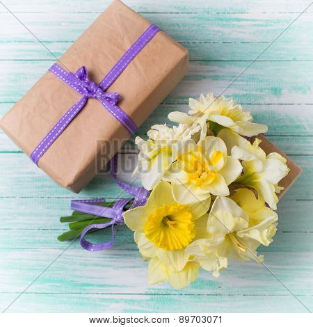 Bunch Of Fresh  Spring  Flowers And Gift Box