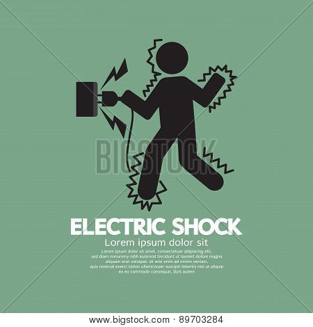 Graphic Symbol Of A Man Get An Electric Shock.