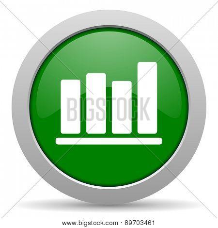 bar chart green glossy web icon