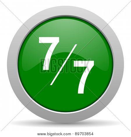7 per 7 green glossy web icon