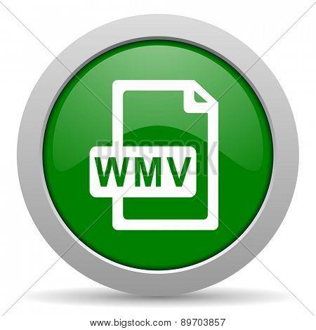 wmv file green glossy web icon