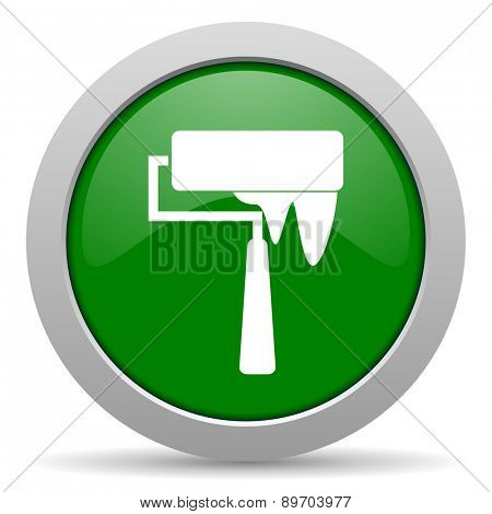brush green glossy web icon