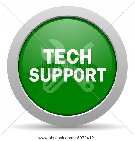 technical support green glossy web icon