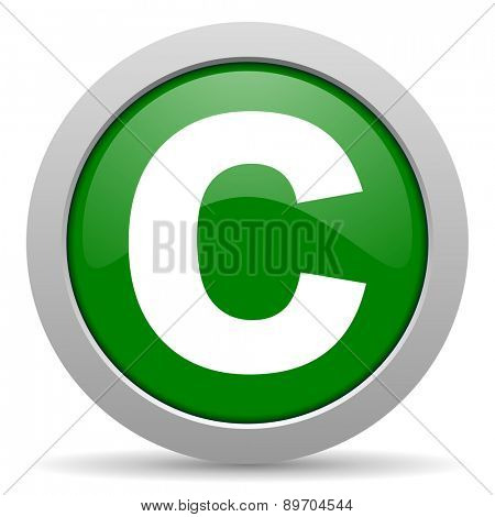 copyright green glossy web icon
