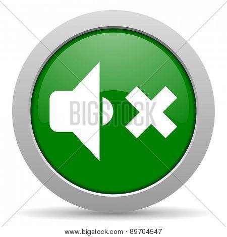 speaker volume green glossy web icon