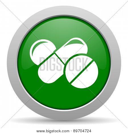 medicine green glossy web icon