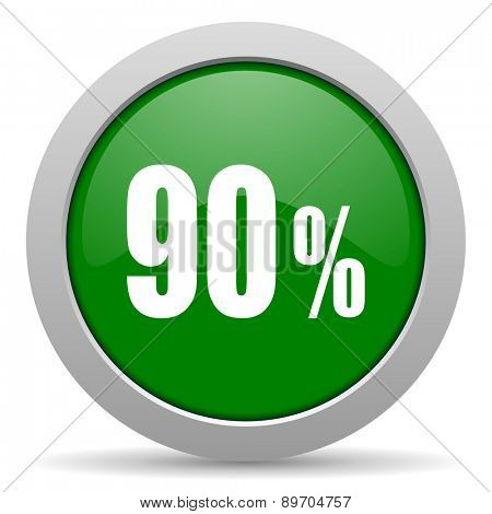 90 percent green glossy web icon