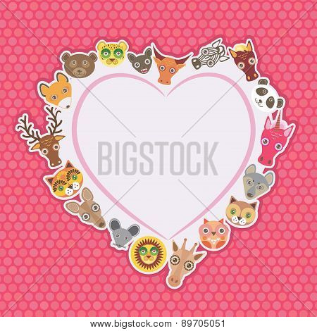 Funny Animals Card Template. White Heart On Pink Polka Dot Background. Vector