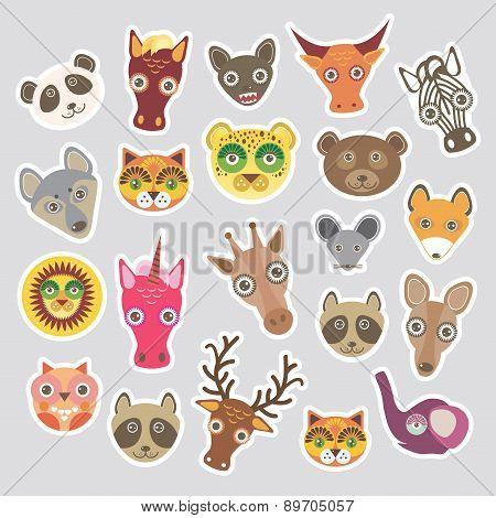 Sticker Set Of Funny Animals Muzzle. Vector