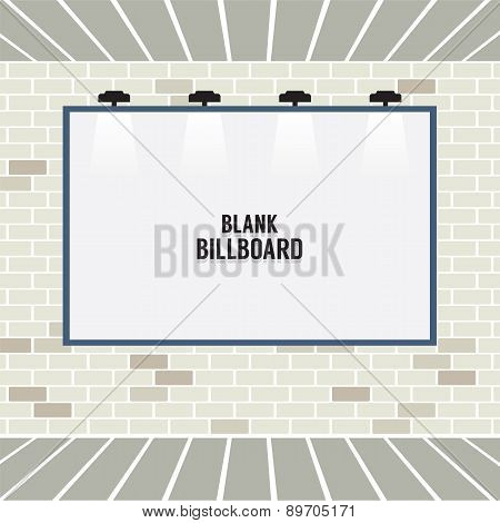 Blank Advertising Billboard On Brick Wall.