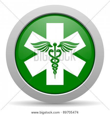 emergency green glossy web icon