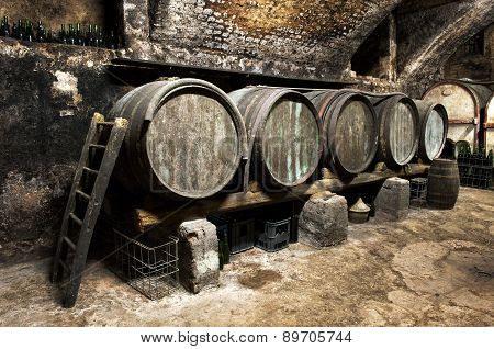 Interior Of An Old Wine Cellar