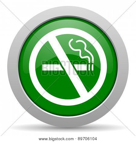 no smoking green glossy web icon