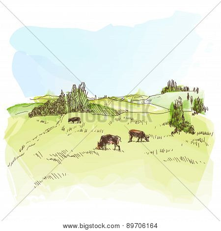 Watercolor landscape with cows