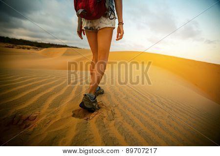 Hiker walking in the desert