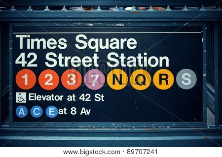 Times Square subway station entrance in New York City