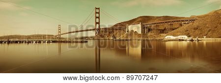 Golden Gate Bridge panorama in San Francisco with reflections