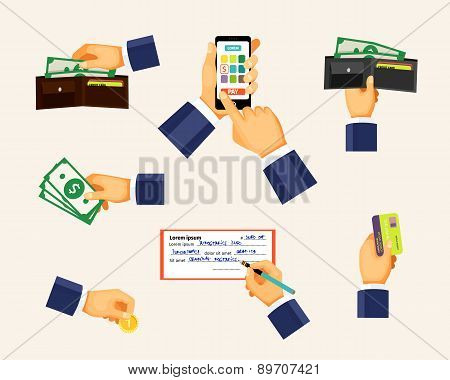 Payments icons in a flat style. Hands holding coin, credit card and cash money