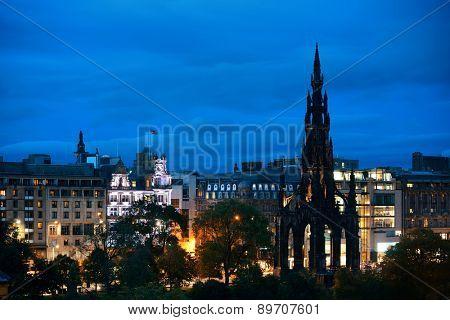 Edinburgh city view with Scott Monument at night in UK.