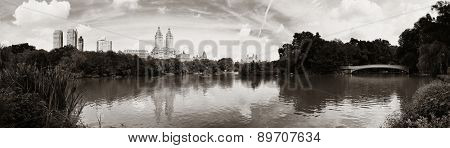 Central Park Spring with skyline panorama in midtown Manhattan New York City