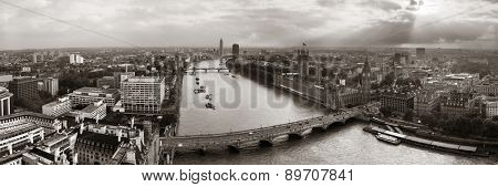 Westminster viewed from London Eye with House of Parliament, London.