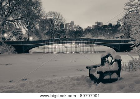 Central Park winter with frozen lake and chair at night in midtown Manhattan New York City