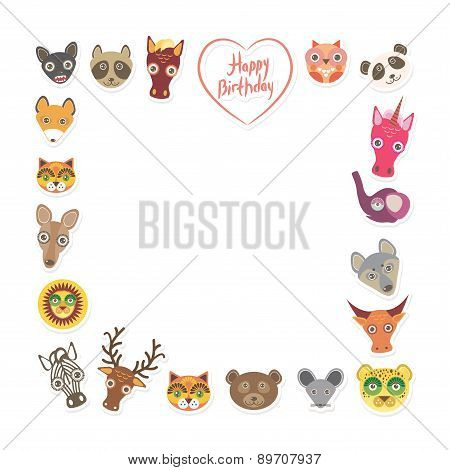 Funny Animals Happy Birthday. Pink Heart On White Background. Vector