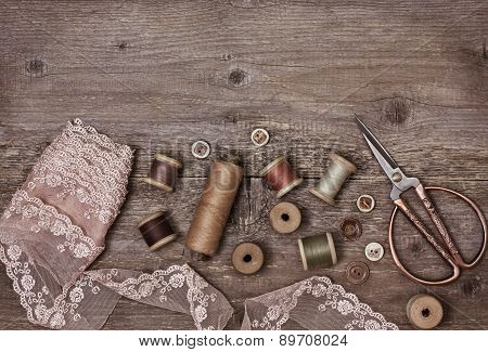 old tools for needlework vintage style