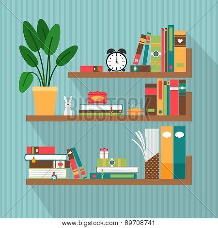 Vector books on bookshelves