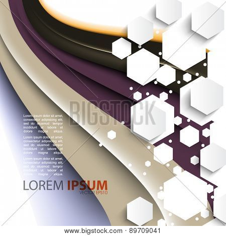 flowing elegant wave with geometric overlapping white hexagon frame corporate business background eps10 vector