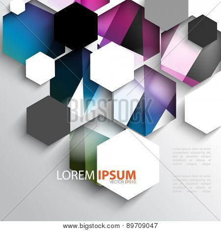 multicolored geometric overlapping white hexagon frame corporate business background eps10 vector