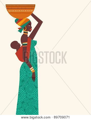 Africa - background, template and illustrations with african woman and child