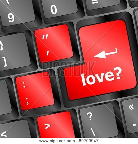 Love With Question Sign Button Word On Keyboard Keys Vector