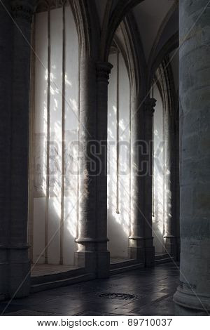 Light And Shadow Formed By Pilars In Cathedral