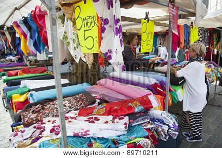 Colorfull Textiles On Market In The Netherlands