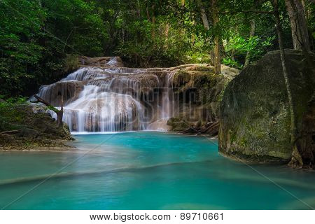 Jangle Landscape With Erawan Waterfall. Kanchanaburi, Thailand
