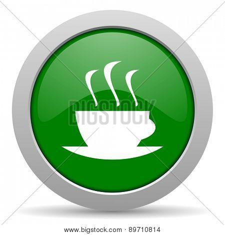 espresso green glossy web icon