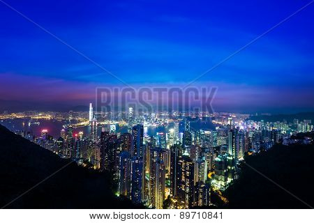 Night aerial view panorama of Hong Kong skyline