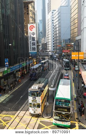 Kong Cityscape View With Famous Trams And Buses