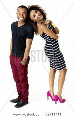 African Model Couple Together Having Fun in the Studio, Full Length