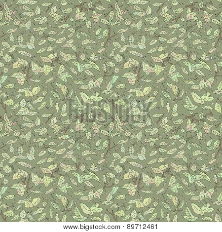 colorful fallen leaves and branches seamless pattern