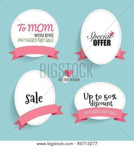 Sale Coupon, voucher, tag. Happy Mother's Day, vector illustration.