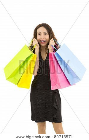 Shopping Woman Happy And Excited