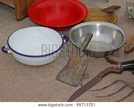 Antique Shop: Antique Bowls And A Cleaver