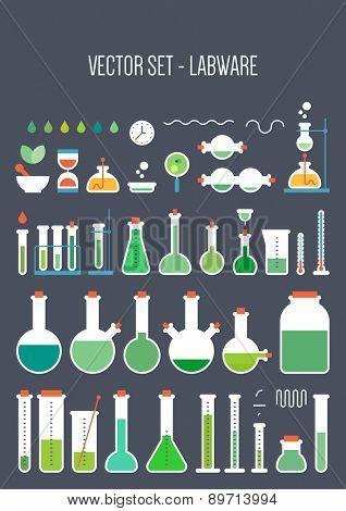 Vector set - chemical designer. Flat design