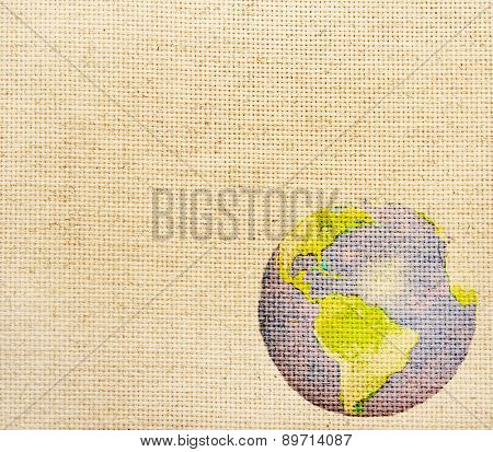 Grunge background with abstract world map printed on canvas texture