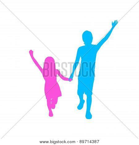 Children Silhouette, Full Length Boy and Girl